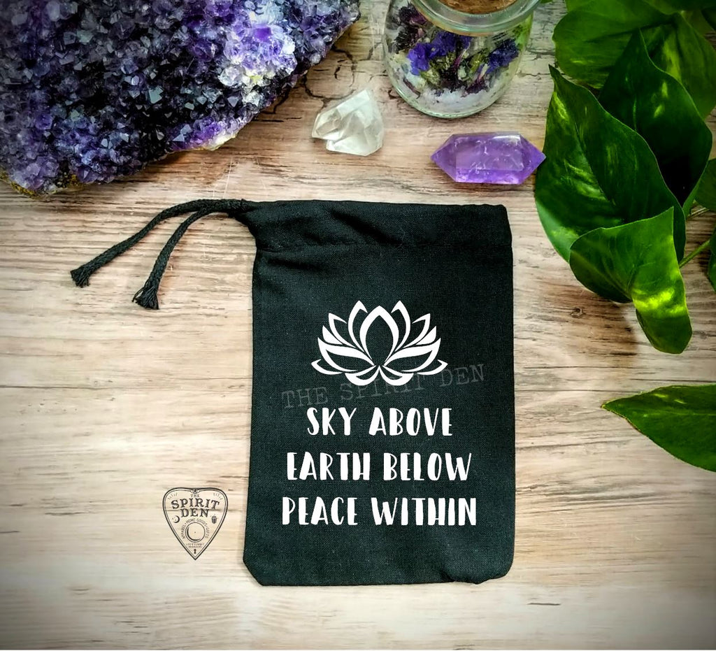 Sky Above Earth Below Peace Within Black Single Drawstring Bag