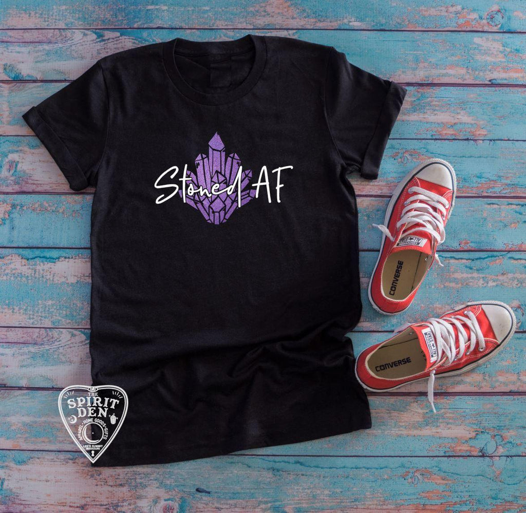 Stoned AF Purple Crystal Design T-Shirt