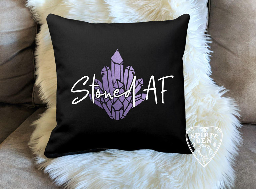 Stoned AF Crystals Black Pillow