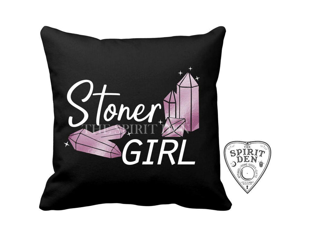 Stoner Girl Crystals Black Pillow