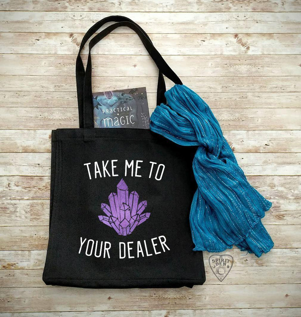 Crystal - Take Me To Your Dealer Black Canvas Market Tote Bag