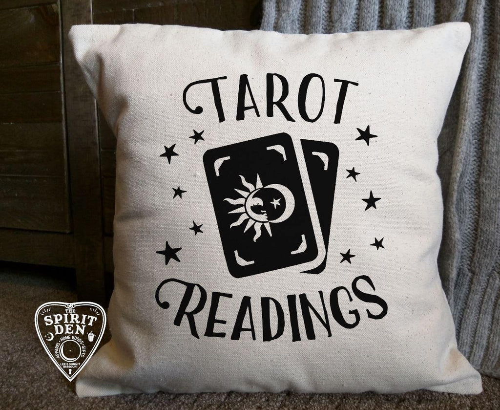 Tarot Readings Cotton Canvas Natural Pillow