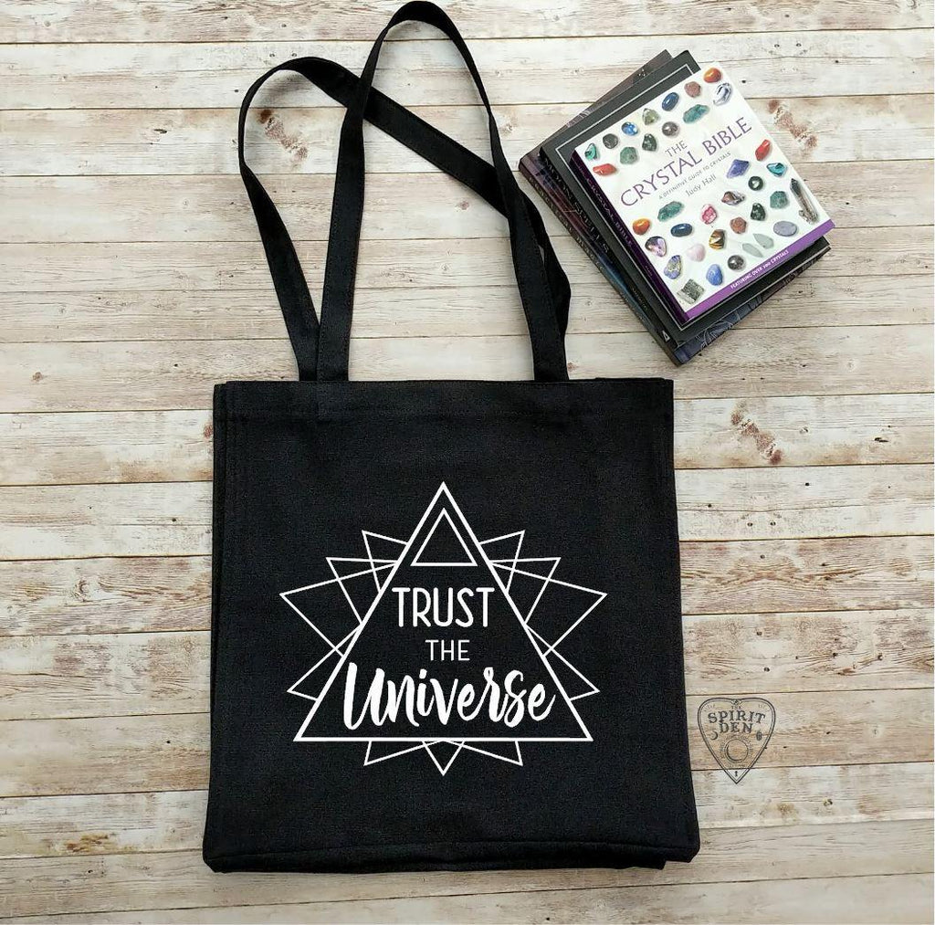 Trust The Universe Black Cotton Canvas Market Tote Bag