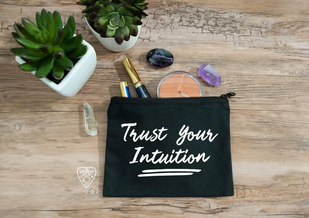 Trust Your Intuition Black Canvas Zipper Bag