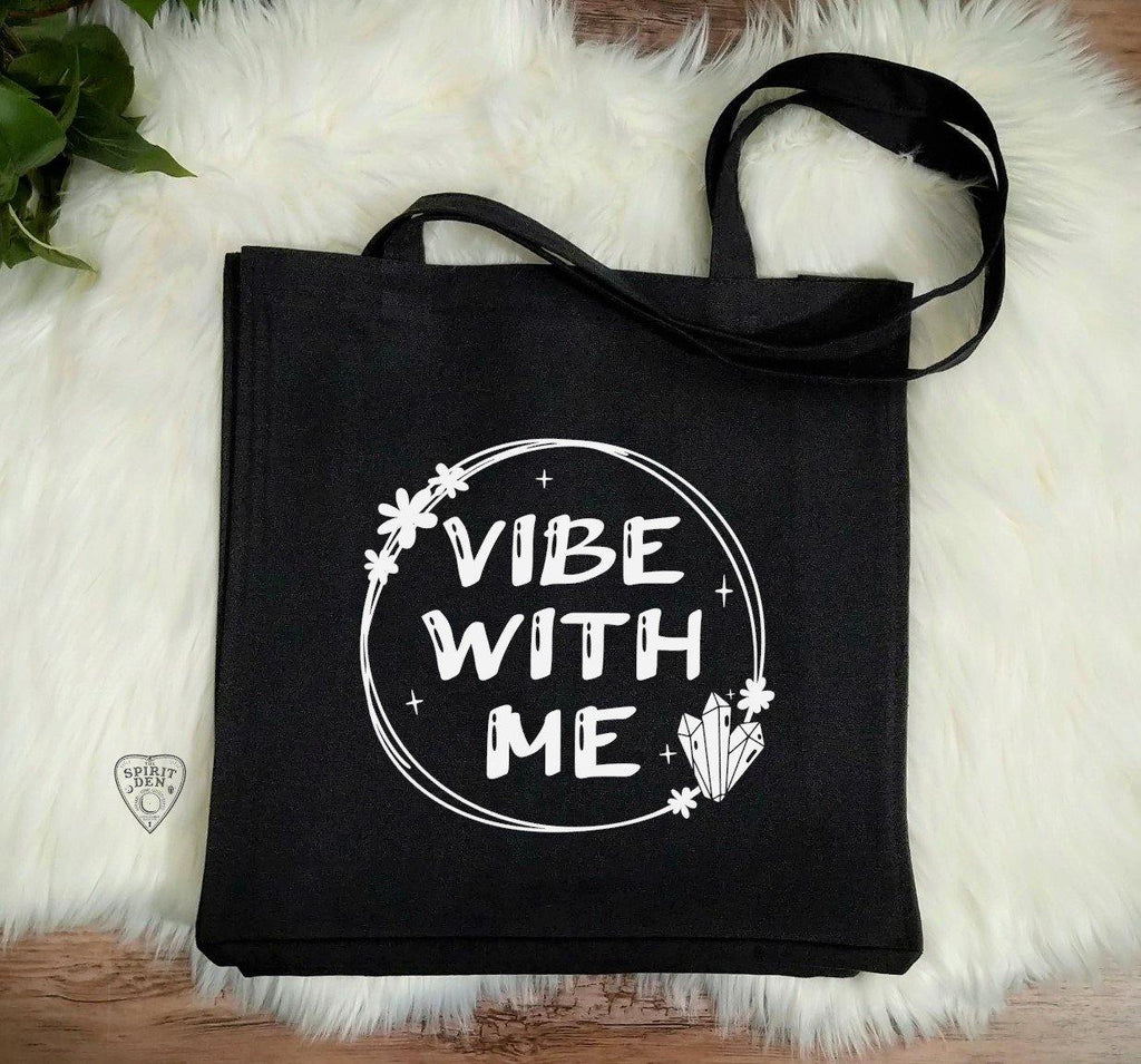 Vibe With Me Black Cotton Canvas Market Tote Bag