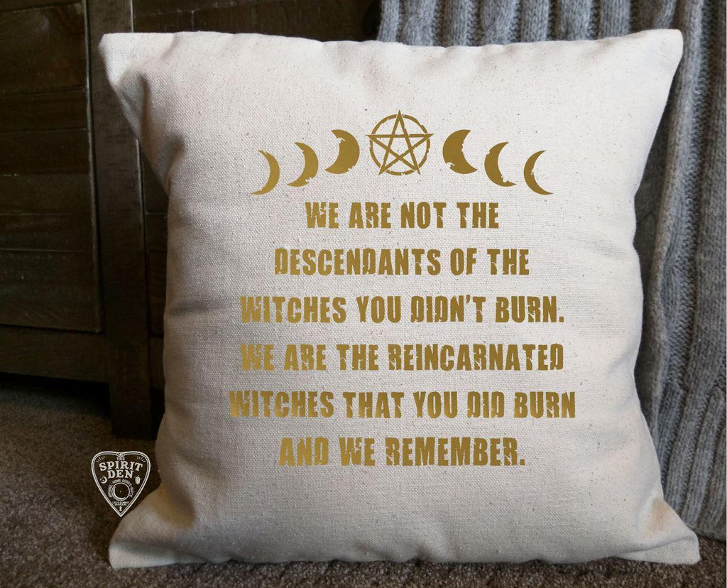 We Are Not The Descendants Of The Witches You Didn't Burn Cotton Natural Pillow  | Pillow Cover