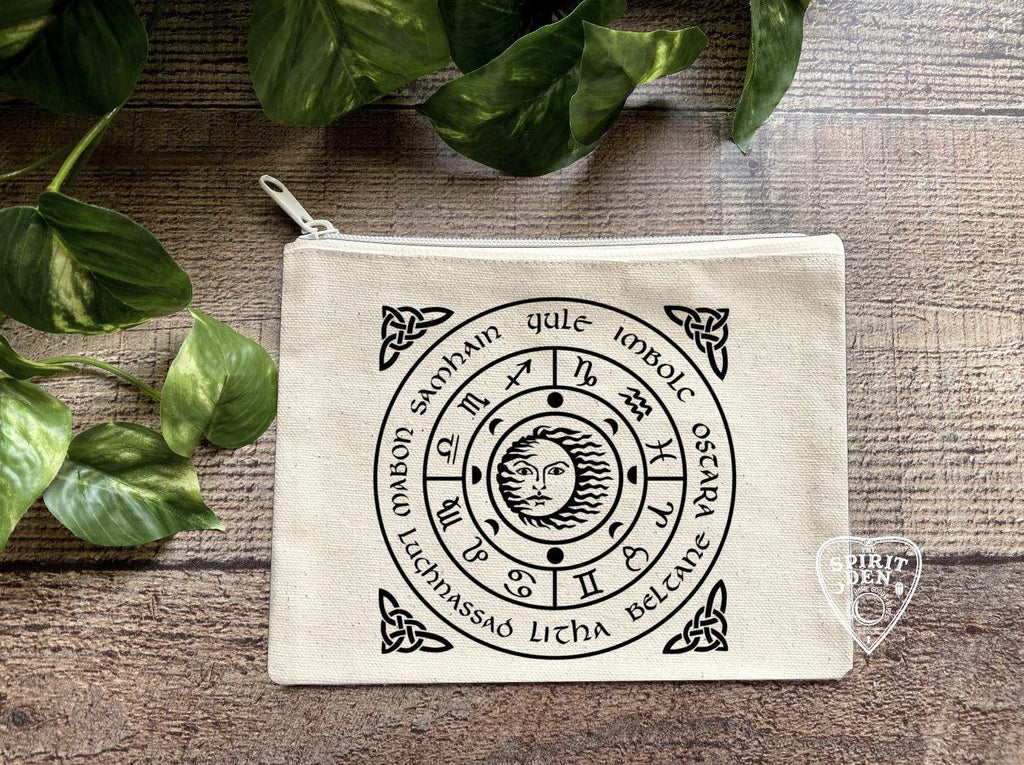 Wheel of the Year Natural Zipper Bag