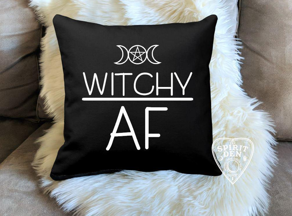 Witchy AF Triple Moon Pentacle Cotton Black Pillow | Pillow Cover