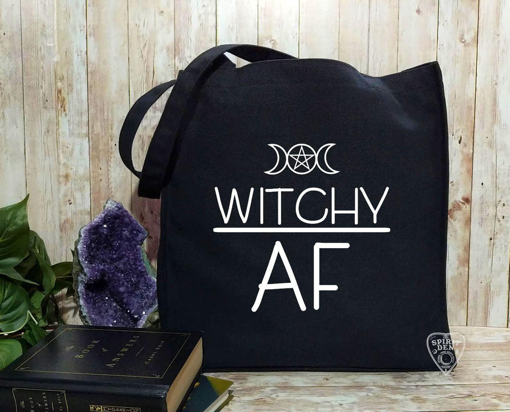 Witchy AF Black Cotton Canvas Market Tote Bag