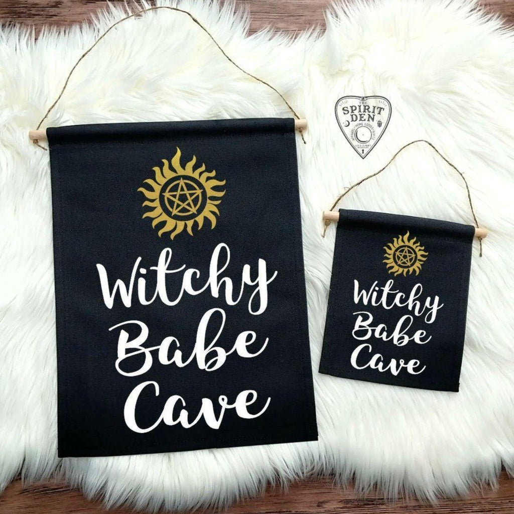 Witchy Babe Cave Black Canvas Banner