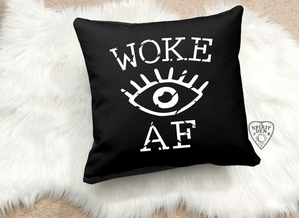 Woke AF Eye Black Cotton Pillow