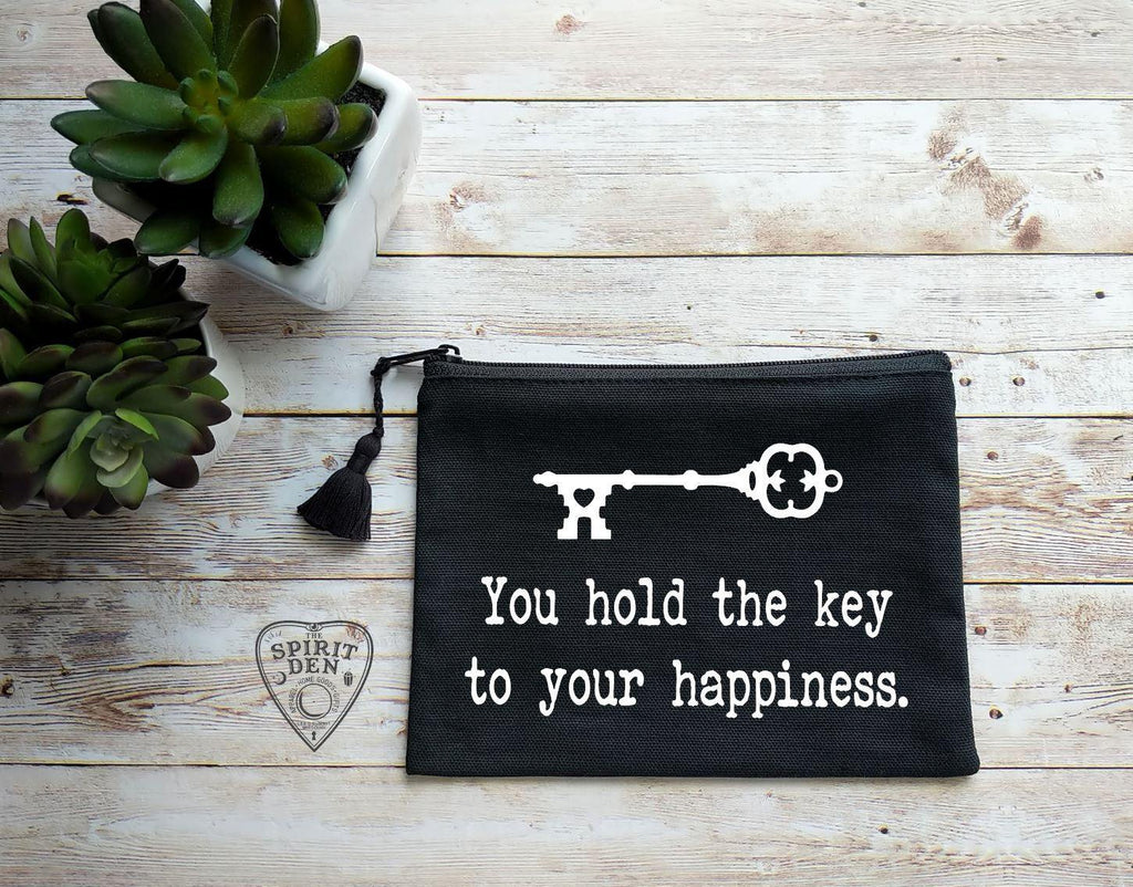 You Hold The Key To Your Happiness Vintage Key Black Zipper Bag