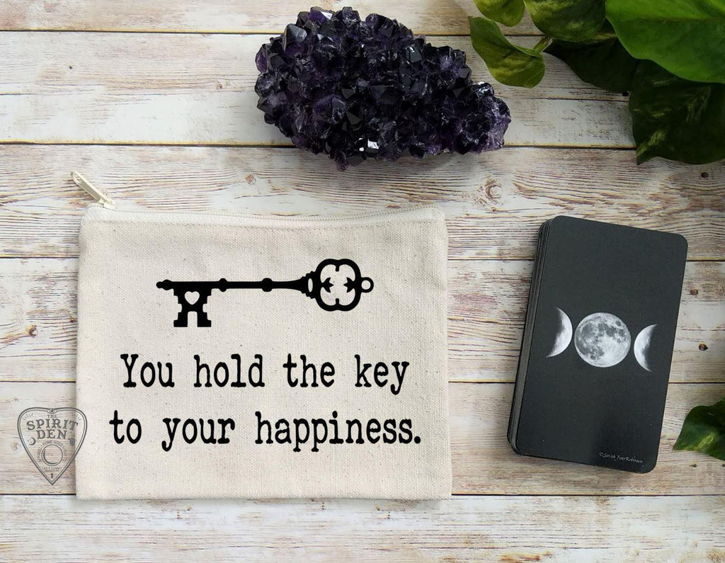 You Hold The Key To Your Happiness Vintage Key Canvas Zipper Bag - The Spirit Den