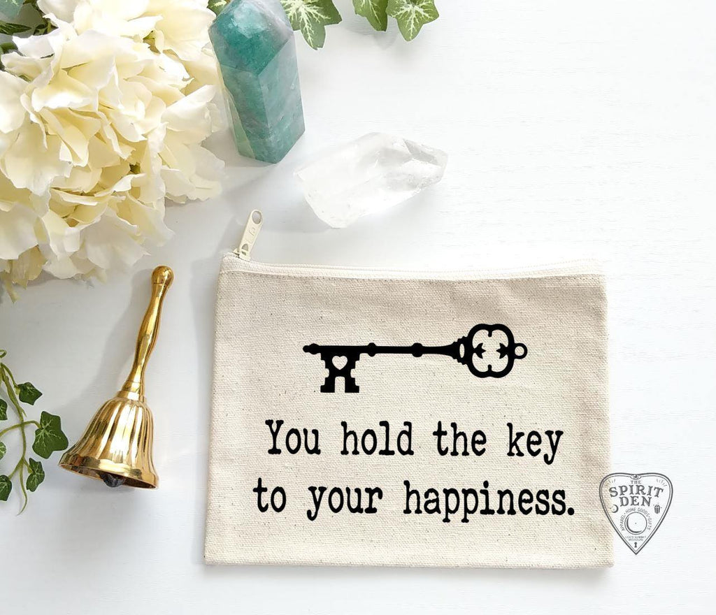 You Hold The Key To Your Happiness Vintage Key Canvas Zipper Bag