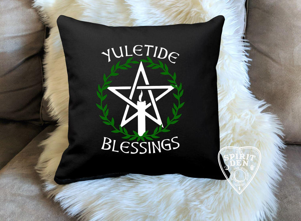 Yuletide Blessings Cotton Black Pillow