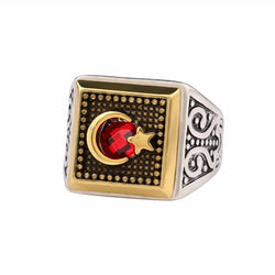 Ruby Red Crescent and Star Ring