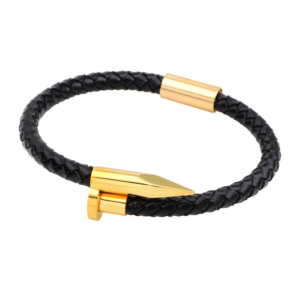Premium Gold Nail Woven Leather Bracelet