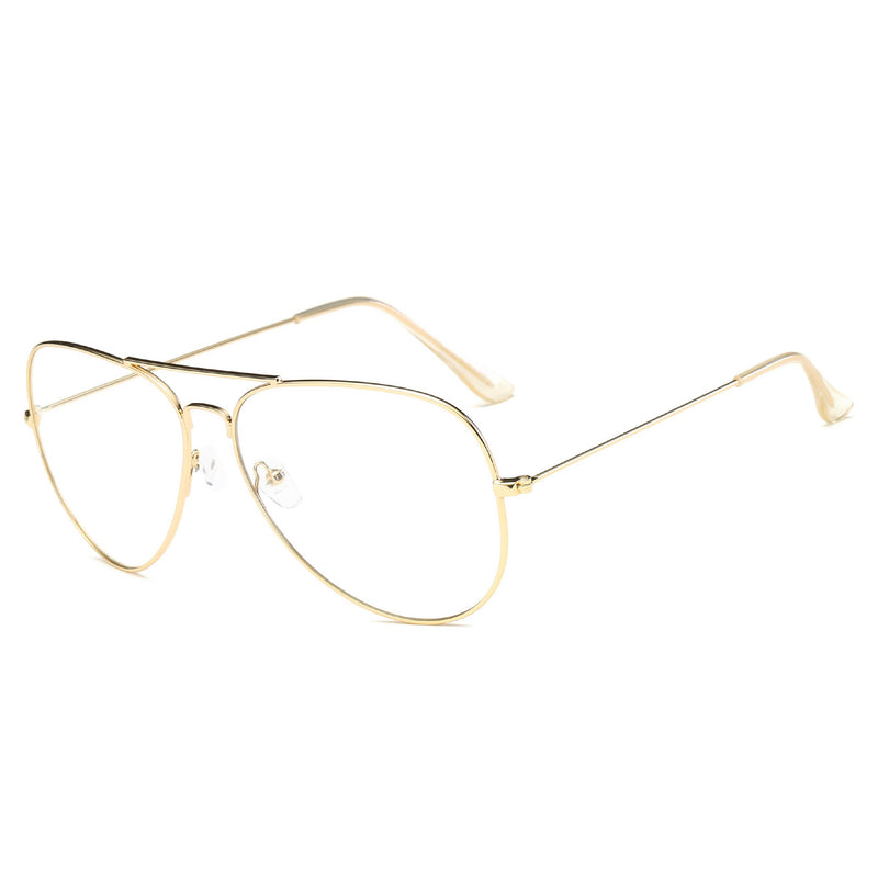 Classic Aviator Metal Frames with Clear Lens