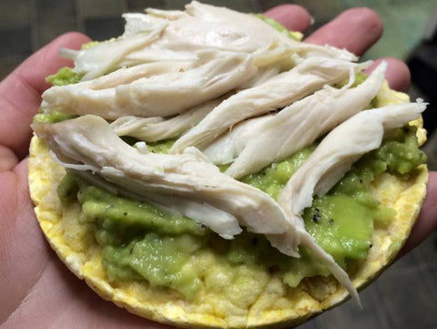 Corn Slice with Home Roasted Chicken and Avocado