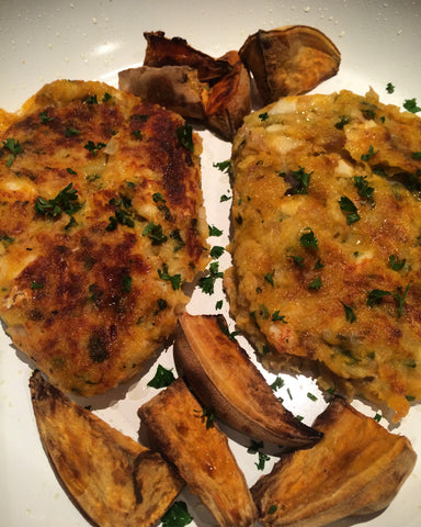 Fish Cakes with Sweet Potato Wedges