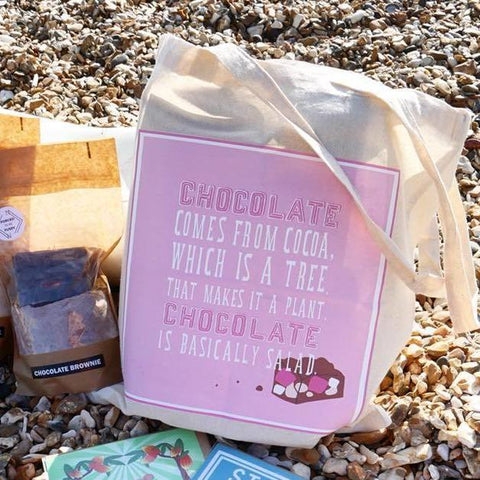 'Chocolate is Salad' Tote Bag
