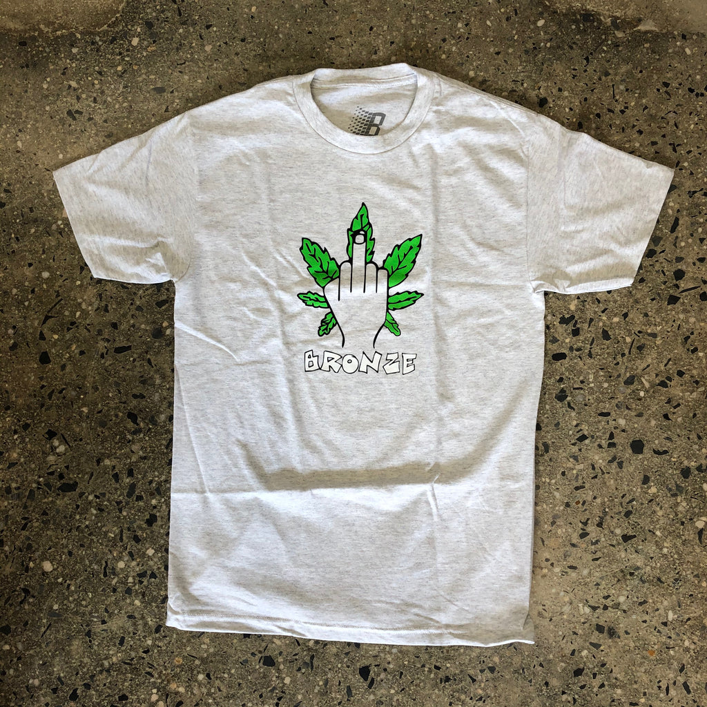 Weed Finger Tee-Ash Grey