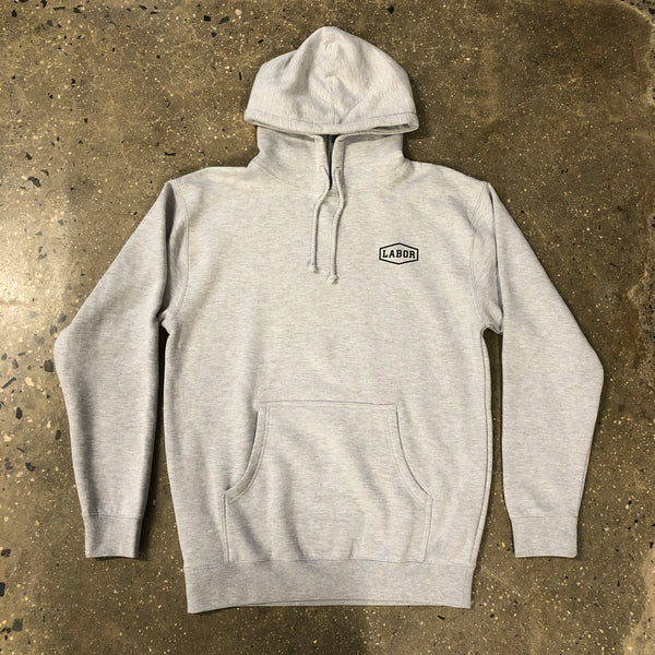 Crest Logo Hood-Heather Grey