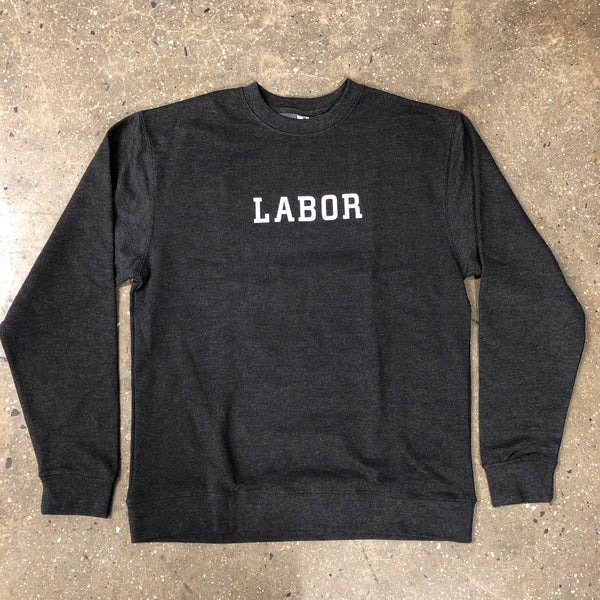 Wordmark Crewneck-Charcoal Heather