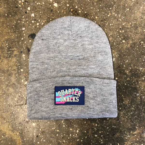 Rubber Label Beanie-Heather Grey