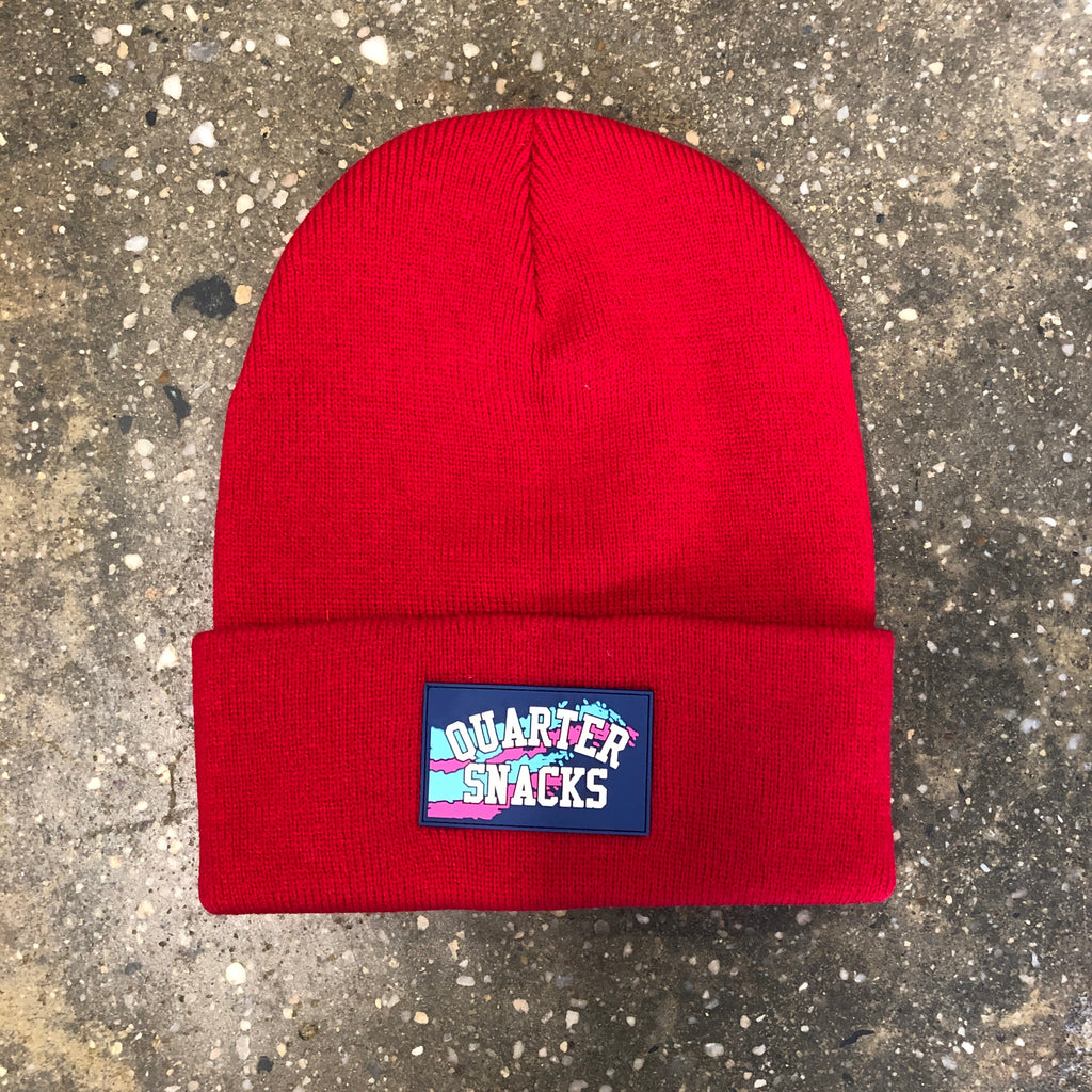 Rubber Label Beanie-Red