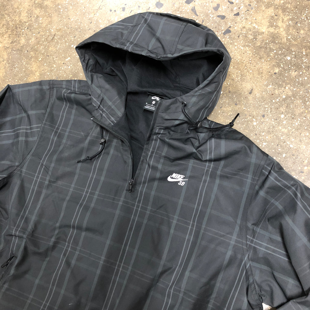 Hooded Quarter Zip Jacket-Black