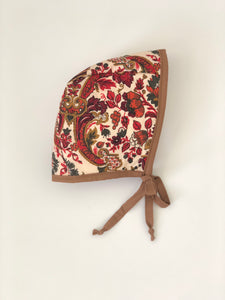 Quilted fall bonnet with mustard trim