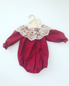 Thea burgundy long sleeves fall and winter girl romper