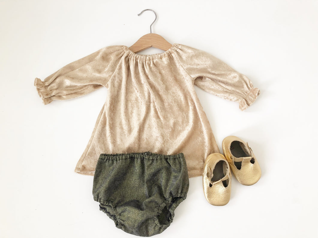 Gold velvet long sleeves tunic top and bloomers set, girl Christmas romper