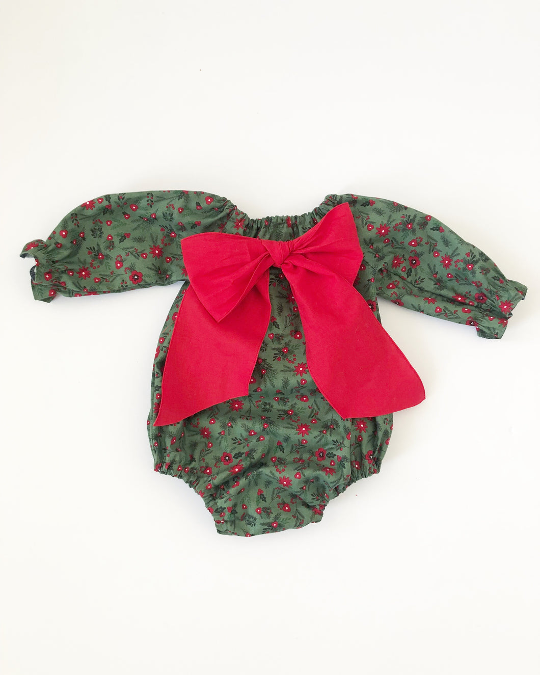 Marnie long sleeves big bow Christmas girl romper