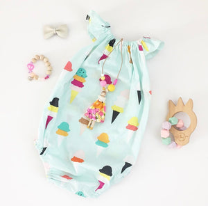 Ice cream flutter sleeves romper