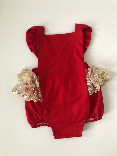 Red and gold sequin trim holiday romper