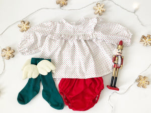 Peyton long sleeves Christmas tunic top and bloomers set, girl Christmas romper