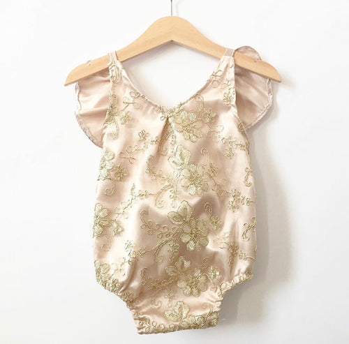 Gold 3D flower embroidered romper