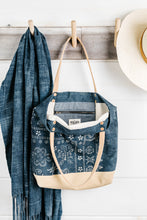 Load image into Gallery viewer, Indigo Batik + Leather Tote