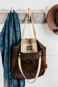 Shearling + Leather Tote