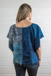 Indigo Blocked Top