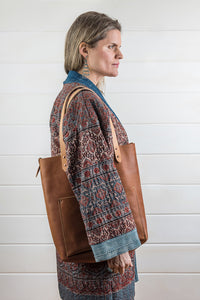 Cowhide Leather Pocket Tote