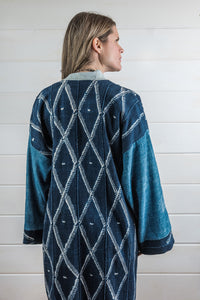 Indigo Shibori Mud Cloth Duster
