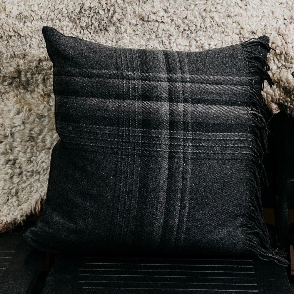 Plaid Fringe Pillow