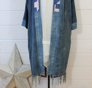 Indigo Quilt Back Duster Jacket