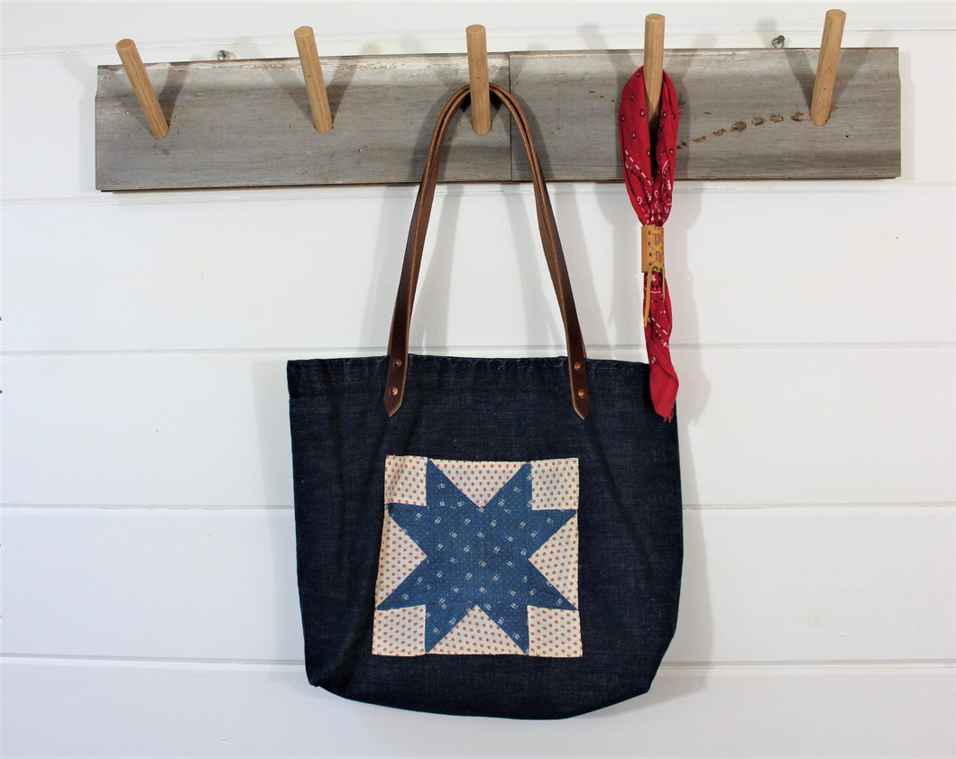 Denim Quilt Patch Tote