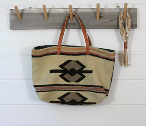 Wool Navajo + leather Weekender Bag