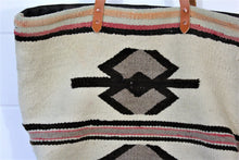 Load image into Gallery viewer, Wool Navajo + leather Weekender Bag