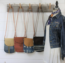 Load image into Gallery viewer, Indigo + Leather Crossbody Bag